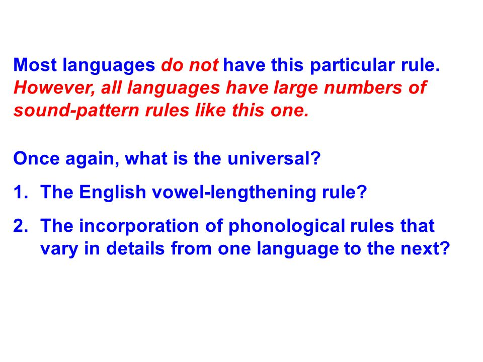 3. Phonological rules: All languages incorporate sound-pattern rules called phonological rules.