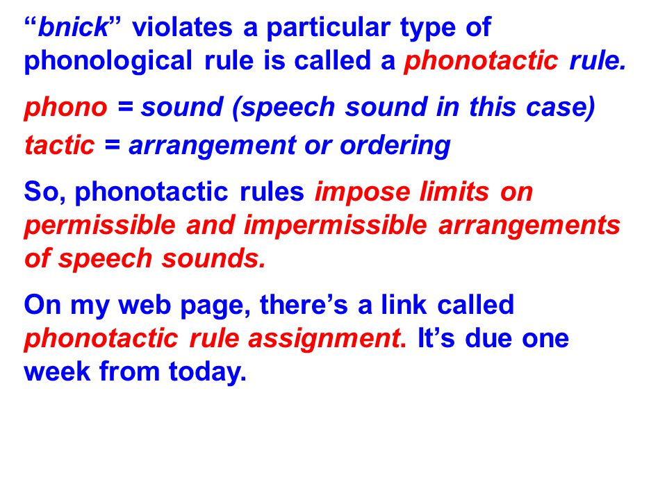 Phonology (sound pattern rules) and the lexicon (mental dictionary) are distinct from one another; e.g., brick – blick – bnick brick: a word blick: a non-word, but conforms to English phonological rules that constrain word shapes bnick: a non-word that violates an English phonological rule that constrains sound sequences These examples prove specialization, or modularity: brick : Your lexicon specialist tells you this is a word.