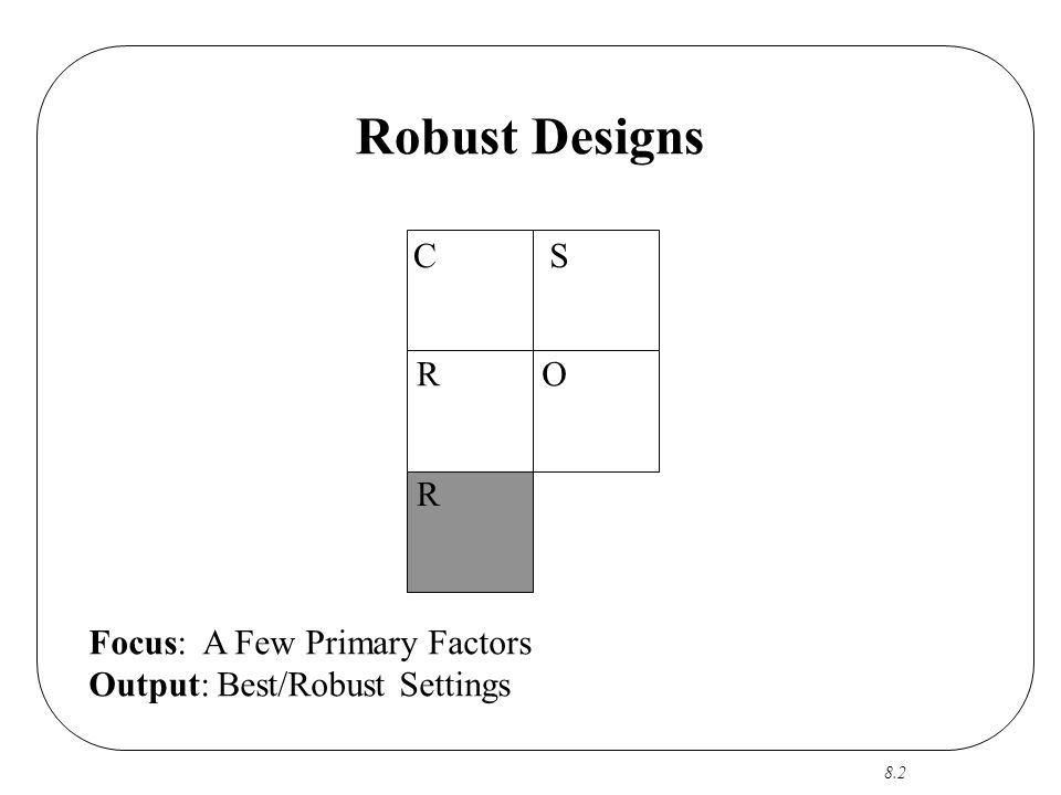 8.2 Robust Designs CS RO R Focus: A Few Primary Factors Output: Best/Robust Settings