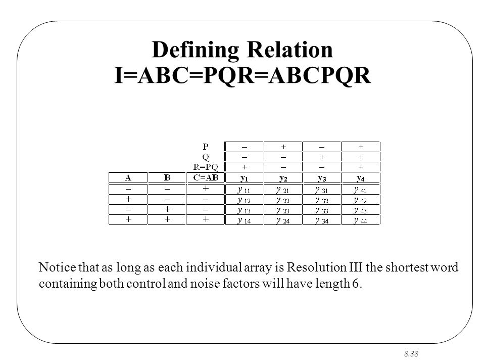 8.38 Defining Relation I=ABC=PQR=ABCPQR Notice that as long as each individual array is Resolution III the shortest word containing both control and noise factors will have length 6.