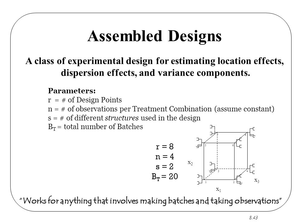 8.43 Assembled Designs Parameters: r = # of Design Points n = # of observations per Treatment Combination (assume constant) s = # of different structures used in the design B T = total number of Batches x1x1 x3x3 x2x2 12 34 56 78 A class of experimental design for estimating location effects, dispersion effects, and variance components.
