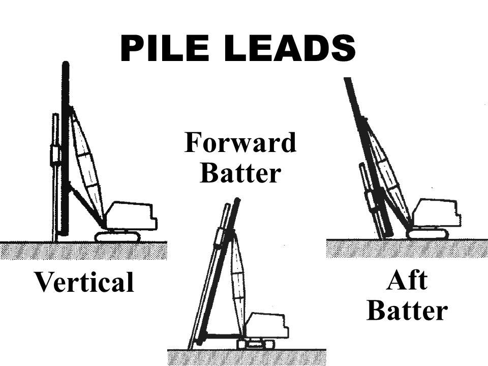 PILE LEADS Vertical Forward Batter Aft Batter