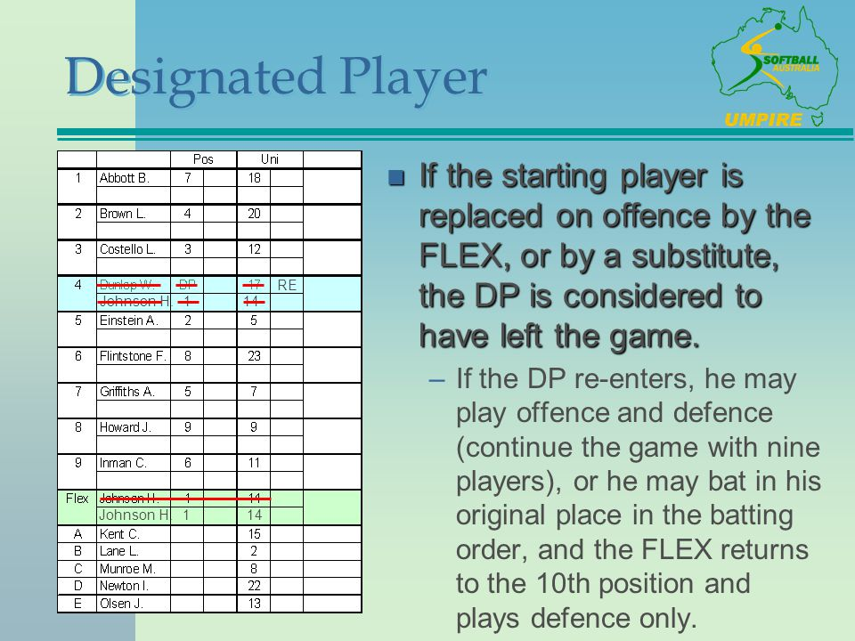 Designated Player n If the starting player is replaced on offence by the FLEX, or by a substitute, the DP is considered to have left the game. –If the