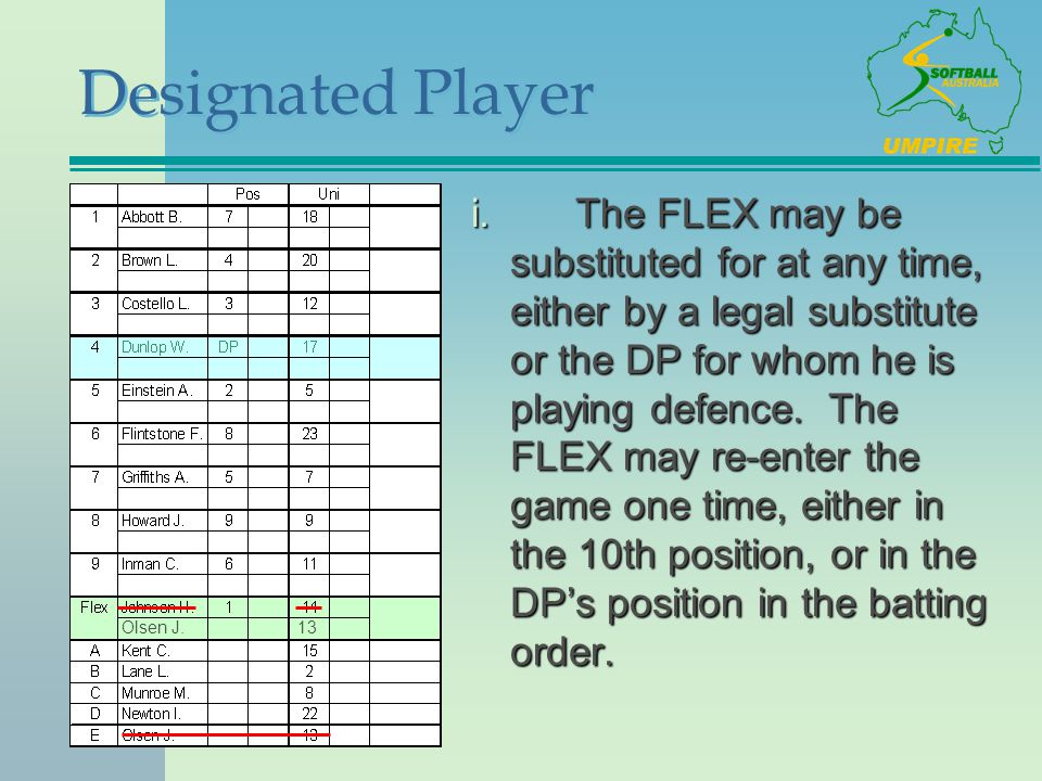 Designated Player i.The FLEX may be substituted for at any time, either by a legal substitute or the DP for whom he is playing defence. The FLEX may r