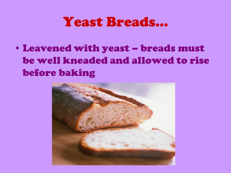 Yeast Breads… Leavened with yeast – breads must be well kneaded and allowed to rise before baking