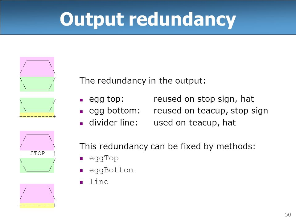 50 Output redundancy The redundancy in the output: egg top:reused on stop sign, hat egg bottom:reused on teacup, stop sign divider line:used on teacup, hat This redundancy can be fixed by methods: eggTop eggBottom line ______ / \ \ / \______/ \ / \______/ +--------+ ______ / \ | STOP | \ / \______/ ______ / \ +--------+