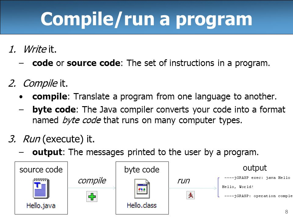 8 Compile/run a program 1.Write it. –code or source code: The set of instructions in a program.
