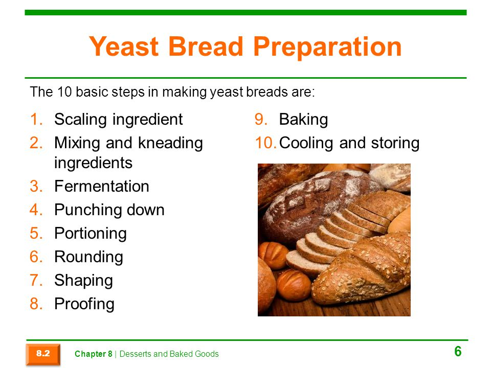 Section 8.2 Summary  Yeast is a living organism that acts as a leavener; that is, it makes baked goods rise.