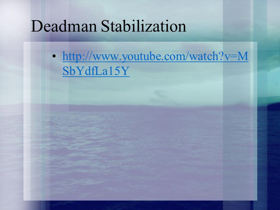 Deadman Stabilization http://www.youtube.com/watch?v=M SbYdfLa15Yhttp://www.youtube.com/watch?v=M SbYdfLa15Y