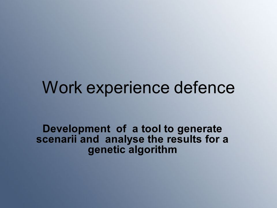 Work experience defence Development of a tool to generate scenarii and analyse the results for a genetic algorithm