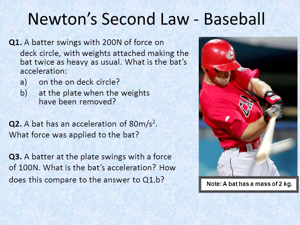 Newton's Second Law - Baseball Q1. A batter swings with 200N of force on deck circle, with weights attached making the bat twice as heavy as usual. Wh