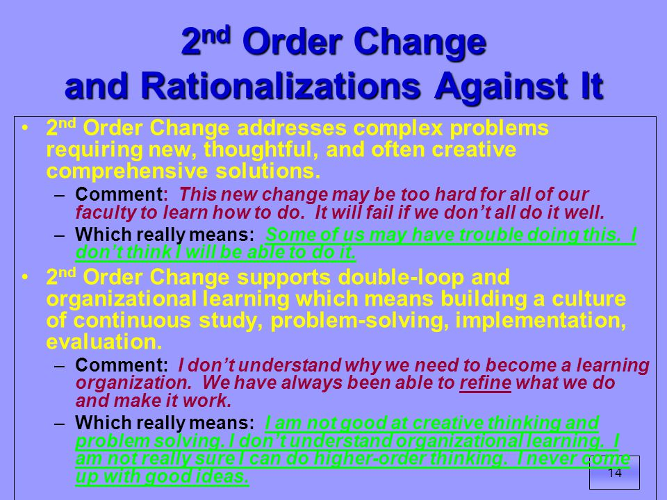 14 2 nd Order Change and Rationalizations Against It 2 nd Order Change addresses complex problems requiring new, thoughtful, and often creative comprehensive solutions.