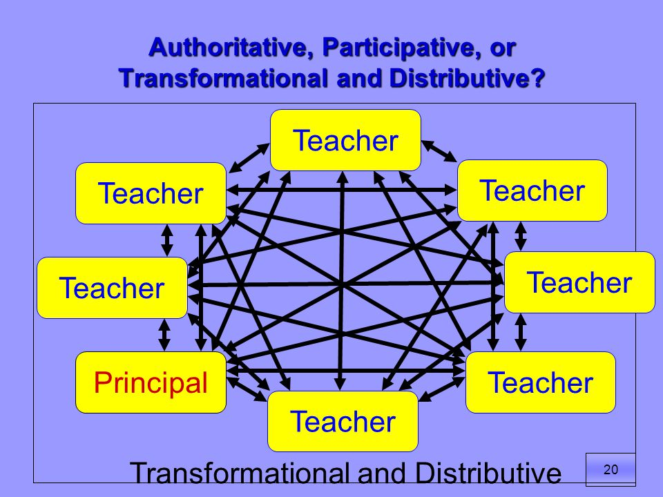 20 Authoritative, Participative, or Transformational and Distributive.