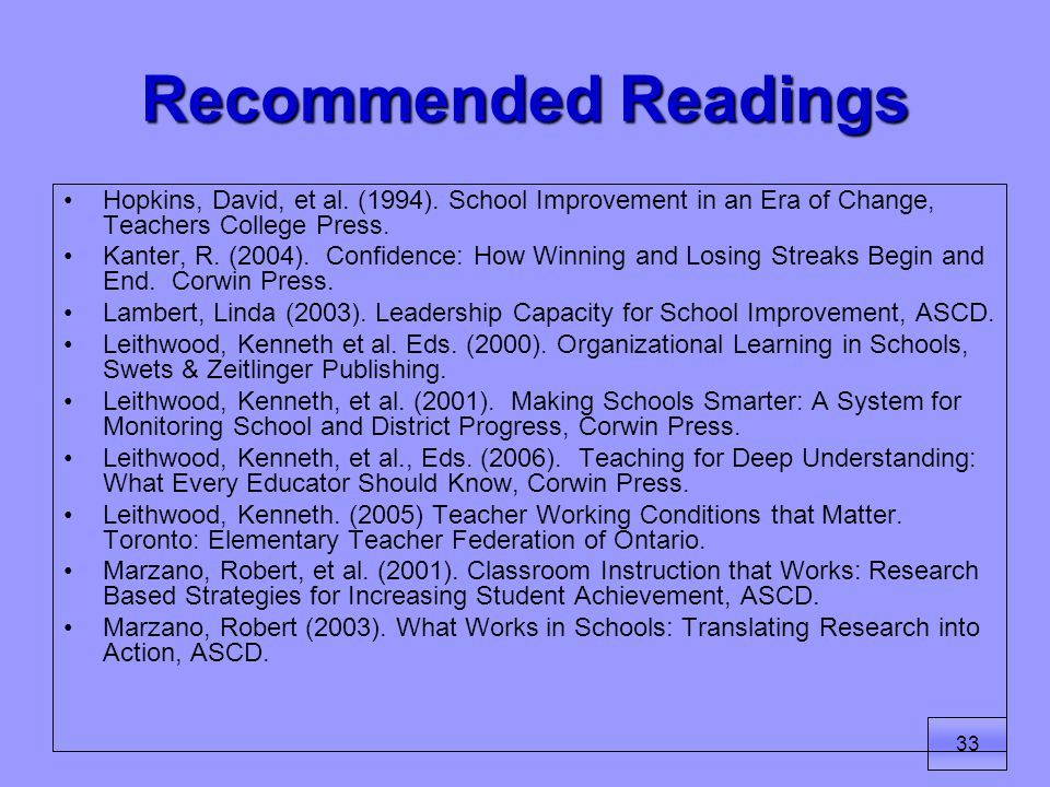 33 Recommended Readings Hopkins, David, et al. (1994).