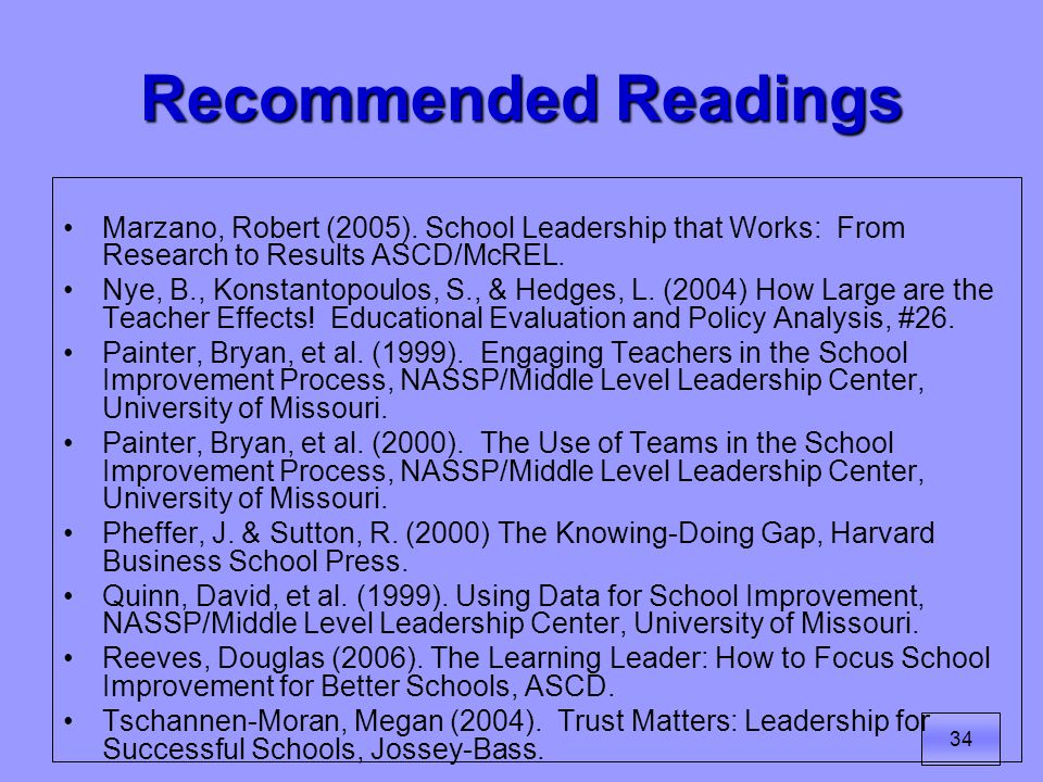 34 Recommended Readings Marzano, Robert (2005).