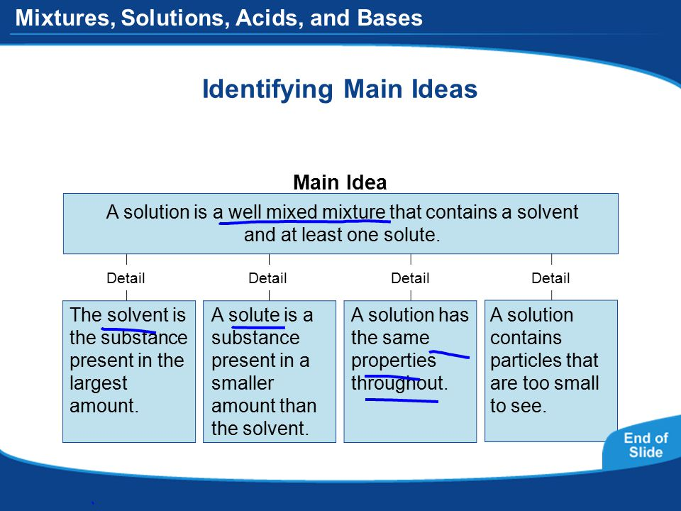 Mixtures, Solutions, Acids, and Bases Identifying Main Ideas A solution is a well mixed mixture that contains a solvent and at least one solute.