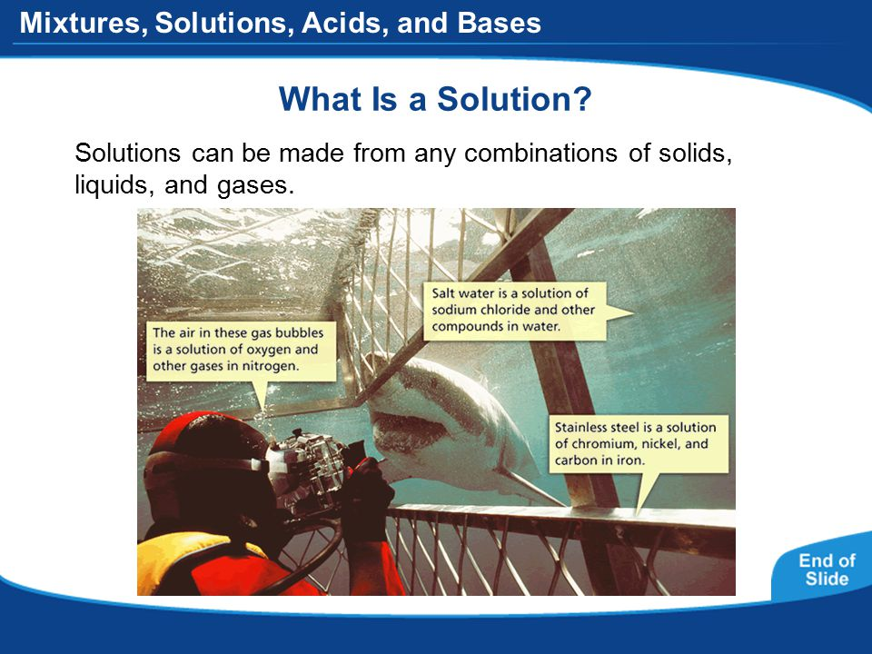 Mixtures, Solutions, Acids, and Bases What Is a Solution.