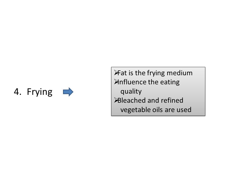 4.Frying  Fat is the frying medium  Influence the eating quality  Bleached and refined vegetable oils are used  Fat is the frying medium  Influen