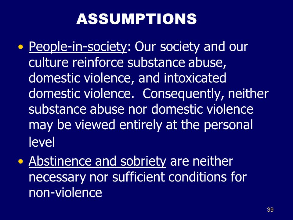 39 ASSUMPTIONS People-in-society: Our society and our culture reinforce substance abuse, domestic violence, and intoxicated domestic violence. Consequ