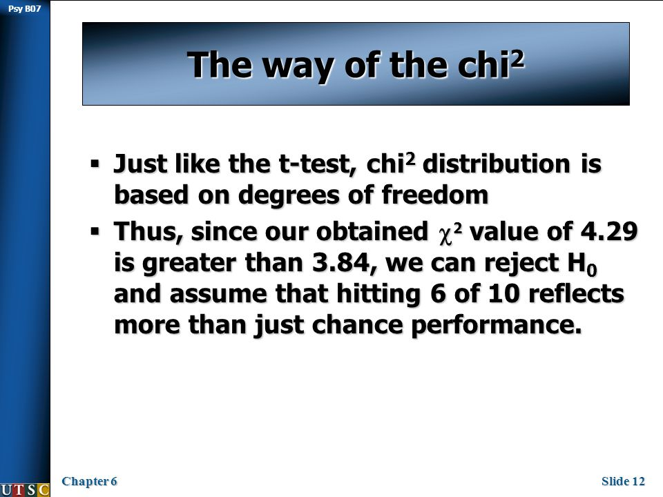 Psy B07 Chapter 6Slide 12 The way of the chi 2  Just like the t-test, chi 2 distribution is based on degrees of freedom  Thus, since our obtained  2 value of 4.29 is greater than 3.84, we can reject H 0 and assume that hitting 6 of 10 reflects more than just chance performance.