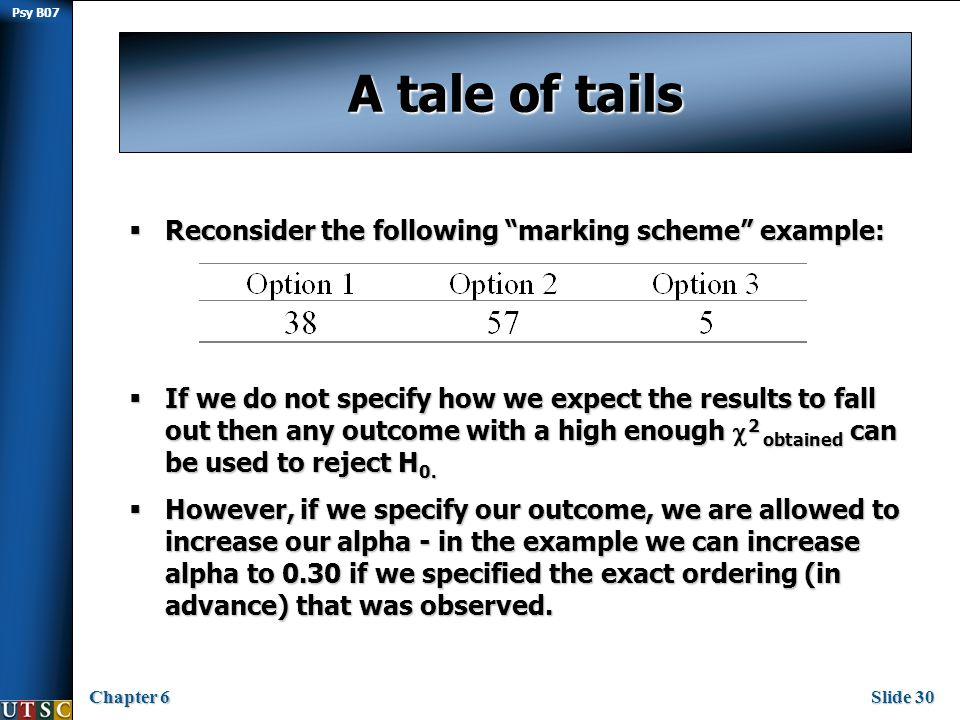 Psy B07 Chapter 6Slide 30 A tale of tails  Reconsider the following marking scheme example:  If we do not specify how we expect the results to fall out then any outcome with a high enough  2 obtained can be used to reject H 0.