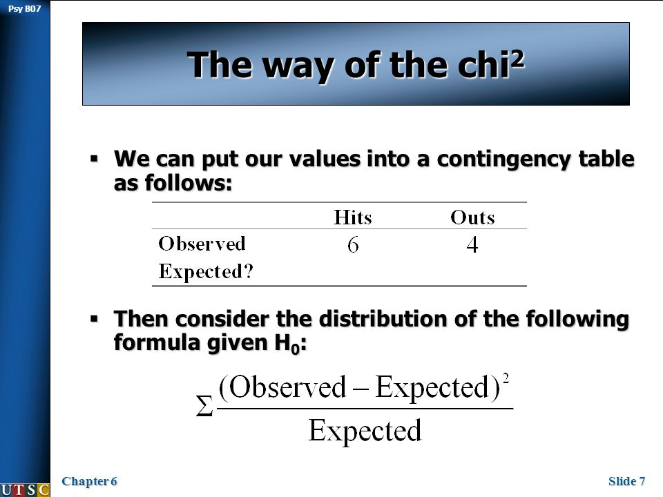 Psy B07 Chapter 6Slide 28 Assumptions of χ 2 Inclusion of Non-Occurrences:  The chi-square test assumes that all outcomes (occurrences and non- occurrences) are considered in the contingency table.