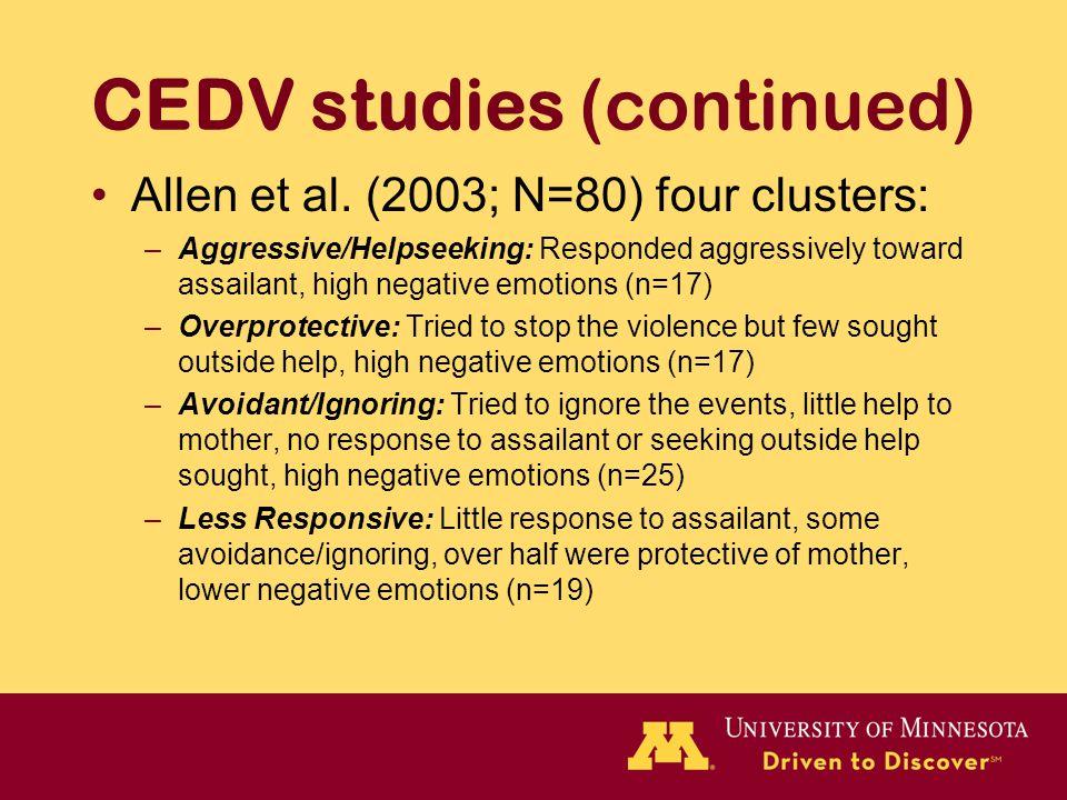 CEDV studies (continued) Allen et al. (2003; N=80) four clusters: –Aggressive/Helpseeking: Responded aggressively toward assailant, high negative emot