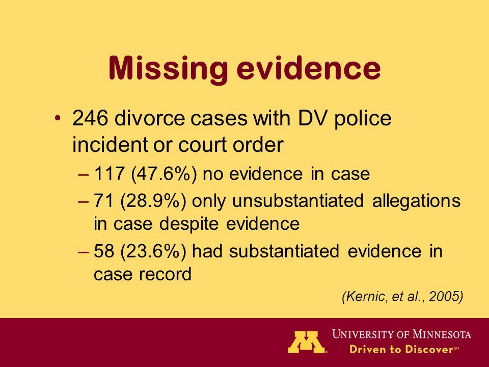 Missing evidence 246 divorce cases with DV police incident or court order –117 (47.6%) no evidence in case –71 (28.9%) only unsubstantiated allegation