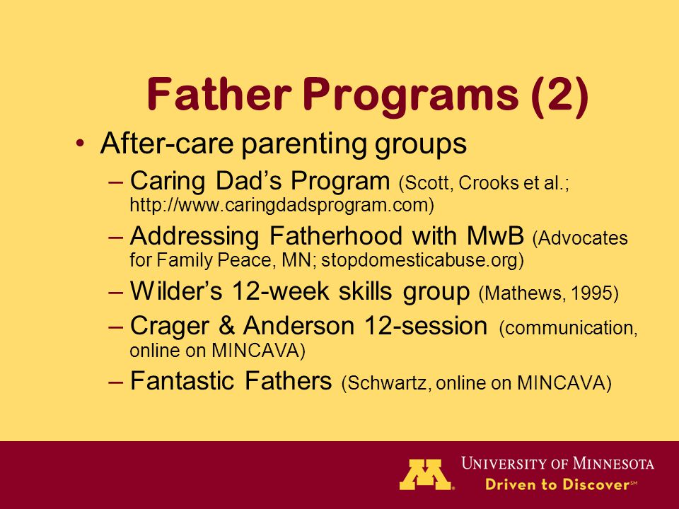 Father Programs (2) After-care parenting groups –Caring Dad's Program (Scott, Crooks et al.; http://www.caringdadsprogram.com) –Addressing Fatherhood with MwB (Advocates for Family Peace, MN; stopdomesticabuse.org) –Wilder's 12-week skills group (Mathews, 1995) –Crager & Anderson 12-session (communication, online on MINCAVA) –Fantastic Fathers (Schwartz, online on MINCAVA)