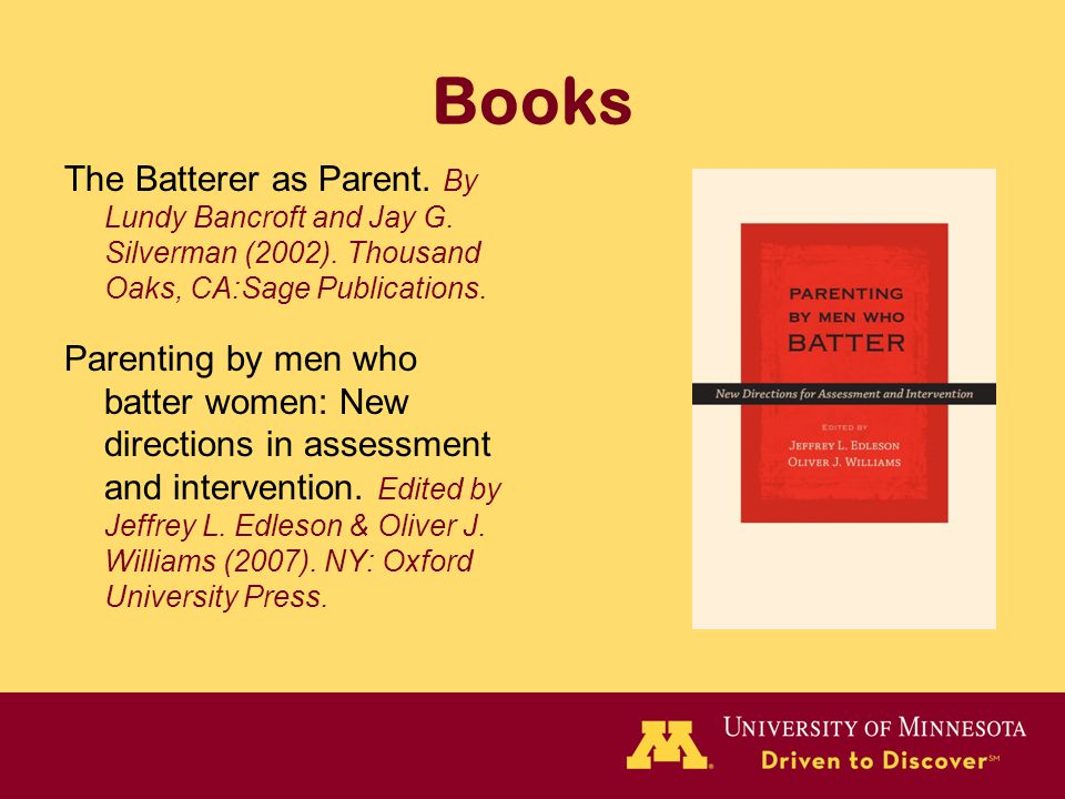 Books The Batterer as Parent. By Lundy Bancroft and Jay G.
