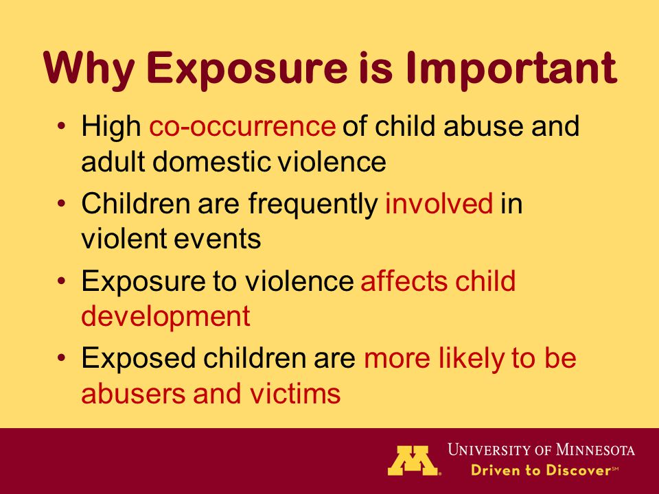Why Exposure is Important High co-occurrence of child abuse and adult domestic violence Children are frequently involved in violent events Exposure to violence affects child development Exposed children are more likely to be abusers and victims