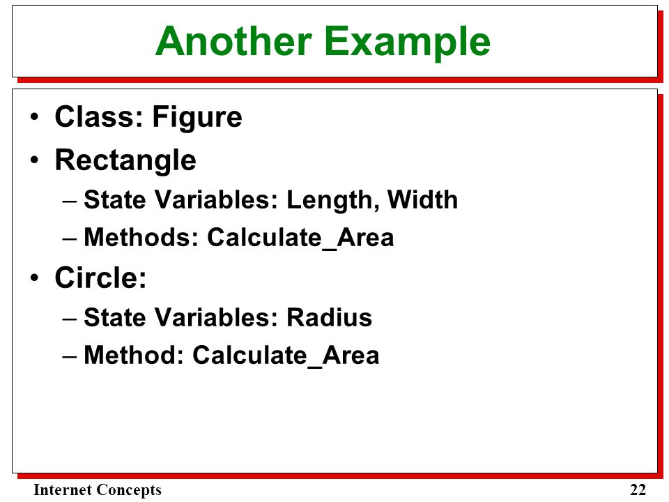 22Internet Concepts Another Example Class: Figure Rectangle –State Variables: Length, Width –Methods: Calculate_Area Circle: –State Variables: Radius –Method: Calculate_Area