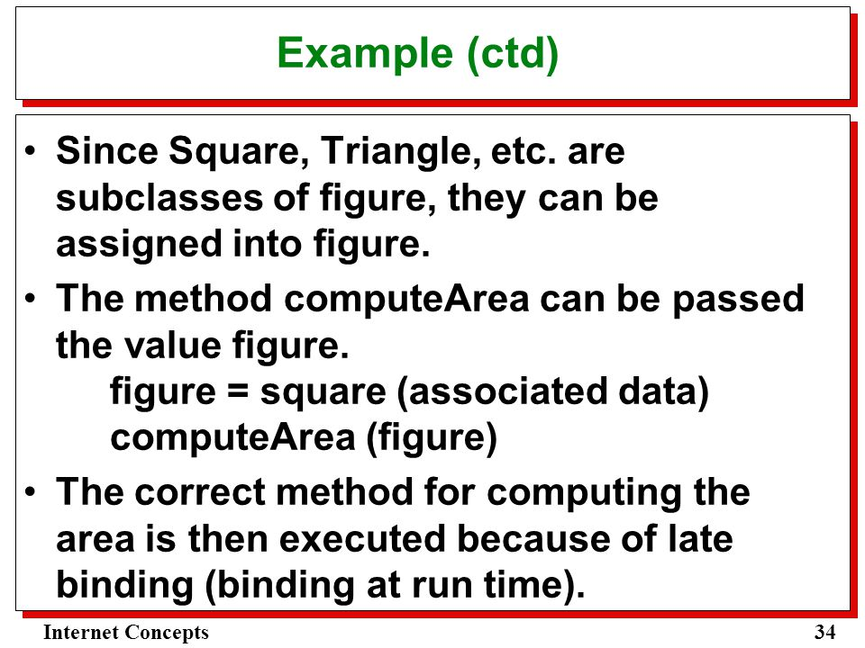 34Internet Concepts Example (ctd) Since Square, Triangle, etc.