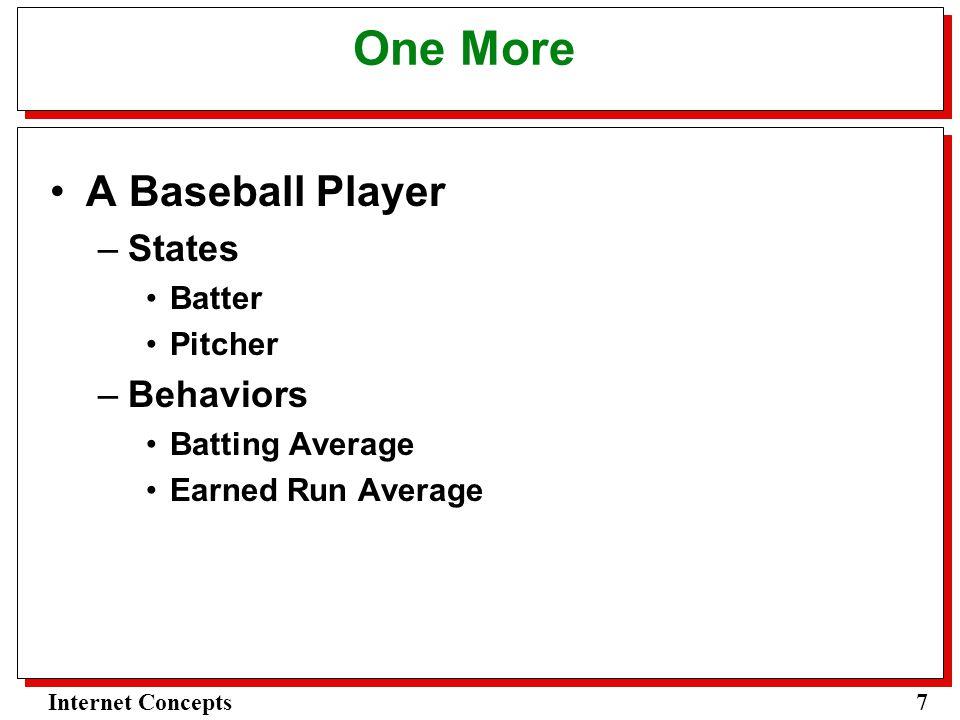 7Internet Concepts One More A Baseball Player –States Batter Pitcher –Behaviors Batting Average Earned Run Average