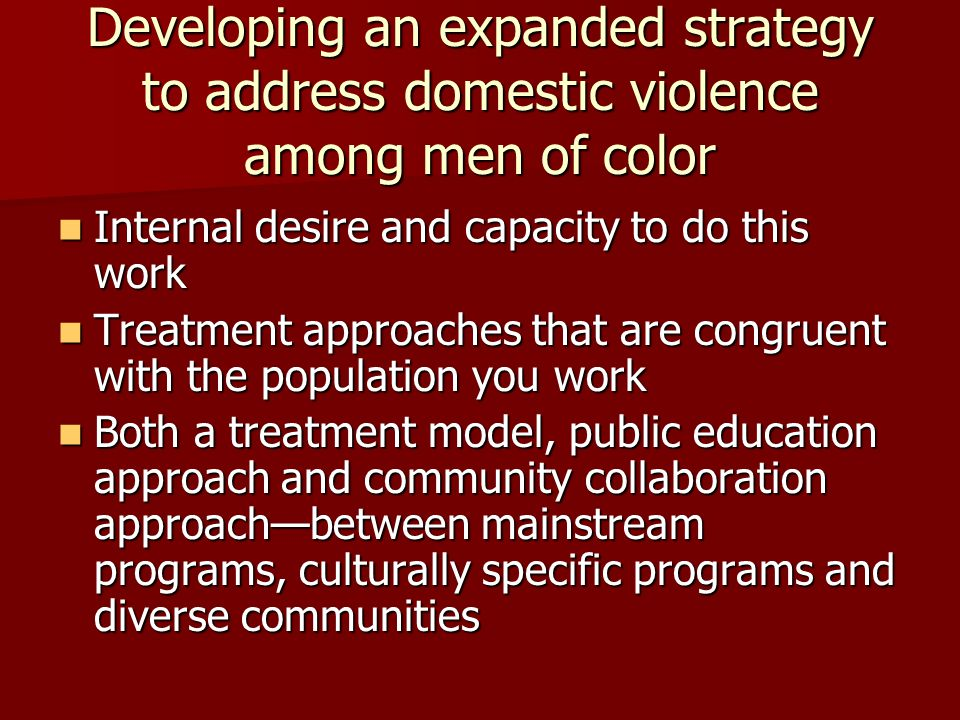 Developing an expanded strategy to address domestic violence among men of color Internal desire and capacity to do this work Internal desire and capacity to do this work Treatment approaches that are congruent with the population you work Treatment approaches that are congruent with the population you work Both a treatment model, public education approach and community collaboration approach—between mainstream programs, culturally specific programs and diverse communities Both a treatment model, public education approach and community collaboration approach—between mainstream programs, culturally specific programs and diverse communities
