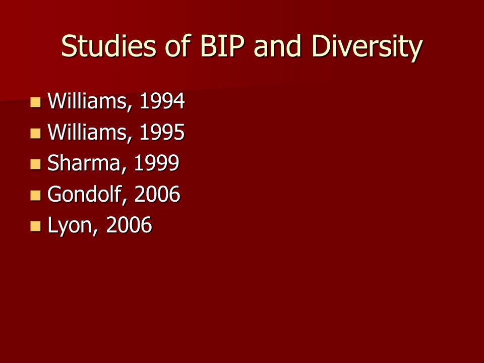 Studies of BIP and Diversity Williams, 1994 Williams, 1994 Williams, 1995 Williams, 1995 Sharma, 1999 Sharma, 1999 Gondolf, 2006 Gondolf, 2006 Lyon, 2006 Lyon, 2006