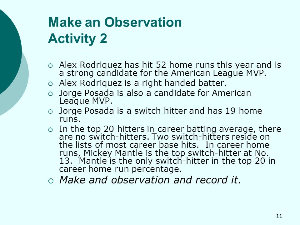 11 Make an Observation Activity 2  Alex Rodriquez has hit 52 home runs this year and is a strong candidate for the American League MVP.