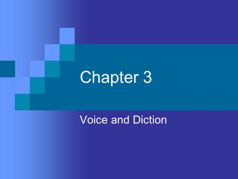 Objectives To develop a more effective speaking voice through relaxation, proper breathing, and good posture To learn habits of good diction in order to develop distinctive, effective voices To use voice quality, pitch, volume, pause, and rate effectively in interpreting character, mood, and meaning.