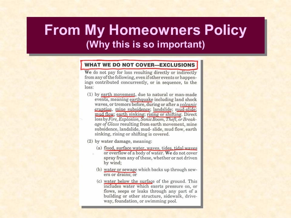 From My Homeowners Policy (Why this is so important)