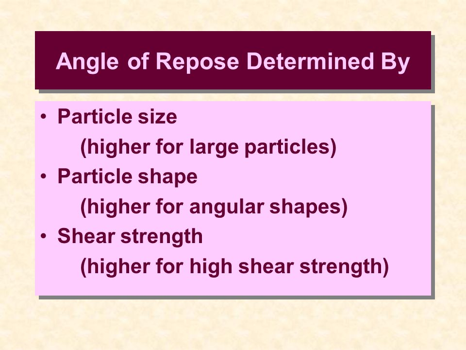 Angle of Repose Determined By Particle size (higher for large particles) Particle shape (higher for angular shapes) Shear strength (higher for high sh