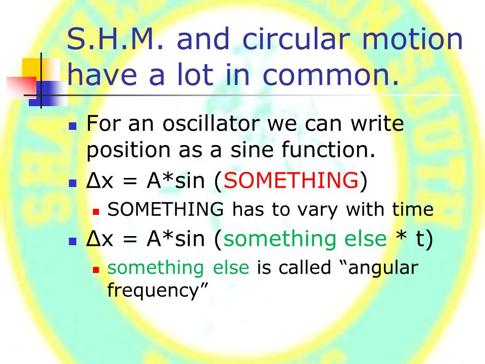 S.H.M. and circular motion have a lot in common.