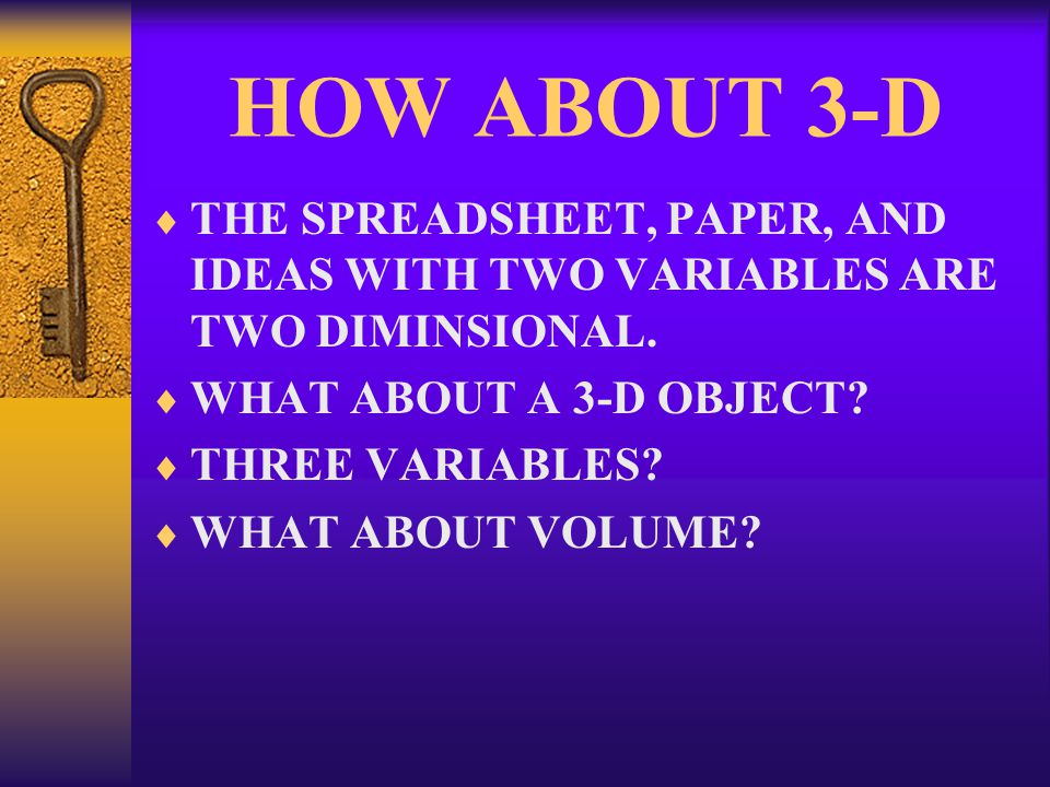 HOW ABOUT 3-D  THE SPREADSHEET, PAPER, AND IDEAS WITH TWO VARIABLES ARE TWO DIMINSIONAL.