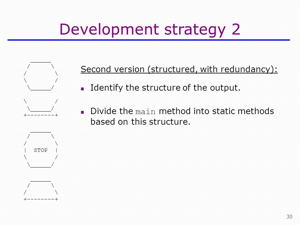 30 Development strategy 2 ______ / \ \ / \______/ \ / \______/ +--------+ ______ / \ | STOP | \ / \______/ ______ / \ +--------+ Second version (structured, with redundancy): Identify the structure of the output.