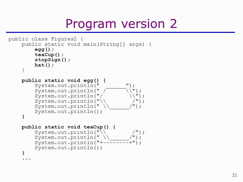 32 Program version 2 public class Figures2 { public static void main(String[] args) { egg(); teaCup(); stopSign(); hat(); } public static void egg() {