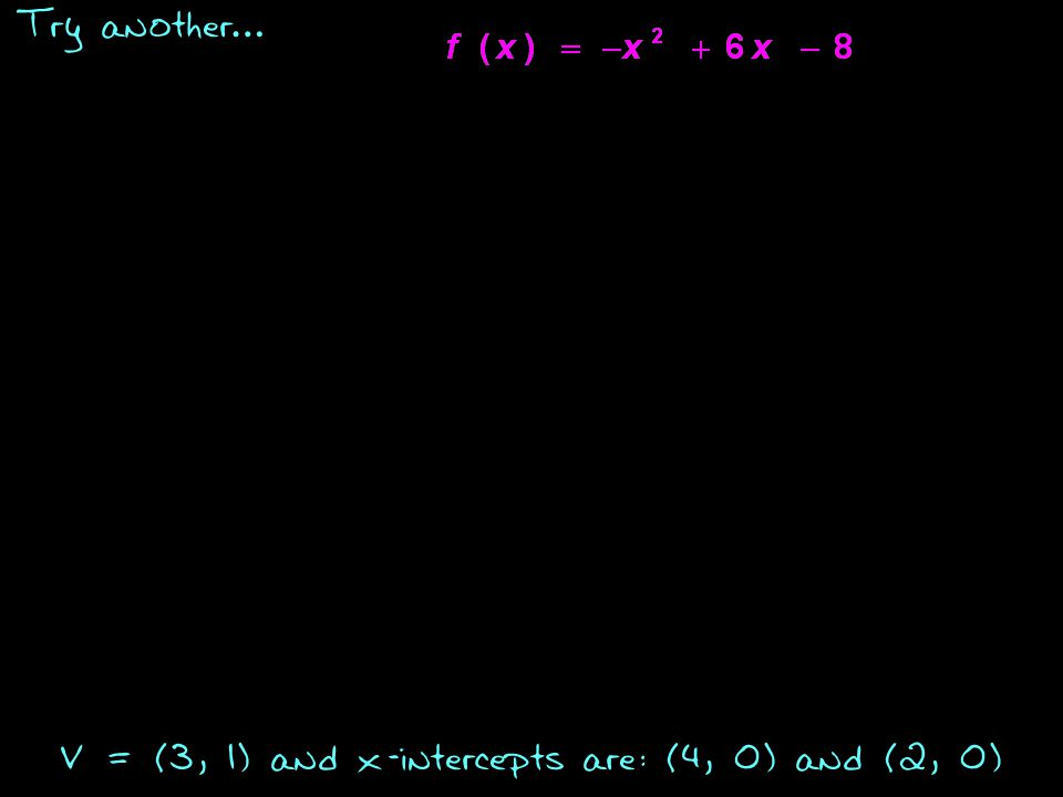 Try another … V = (3, 1) and x-intercepts are: (4, 0) and (2, 0)