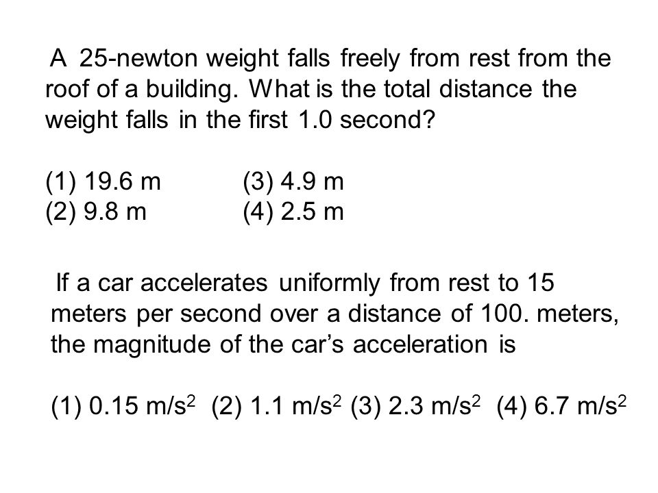 A 25-newton weight falls freely from rest from the roof of a building.