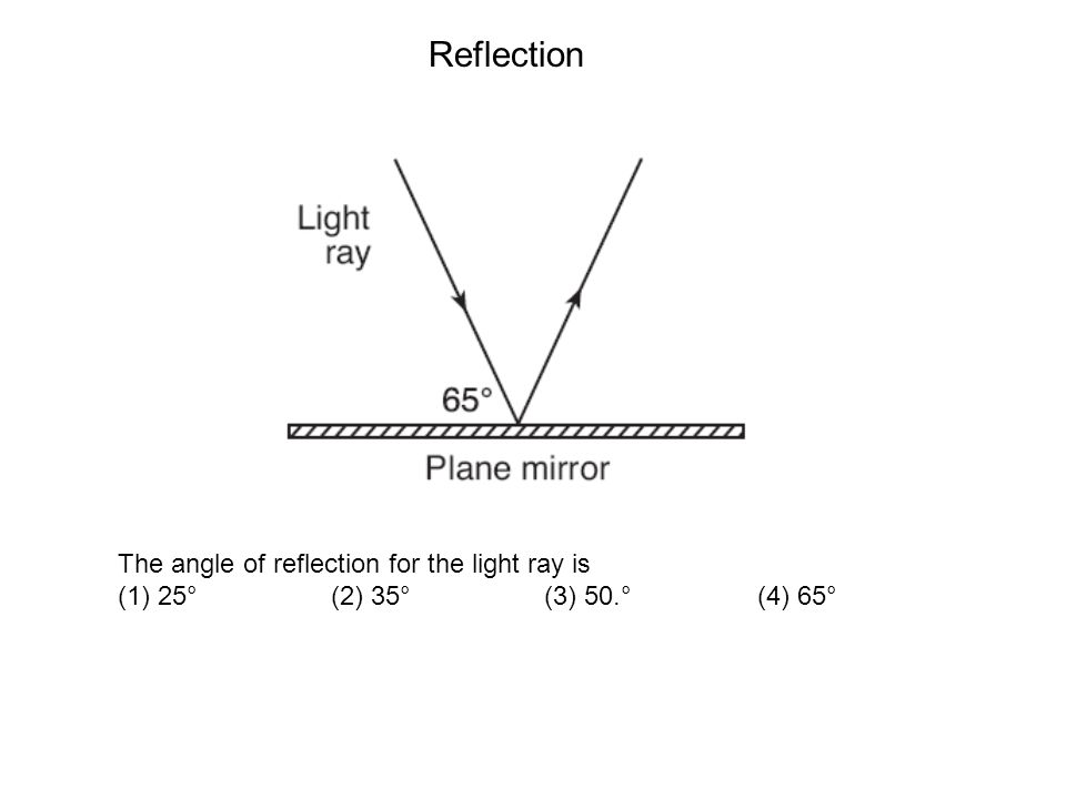 The angle of reflection for the light ray is (1) 25° (2) 35° (3) 50.° (4) 65° Reflection