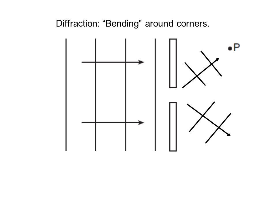 Diffraction: Bending around corners.