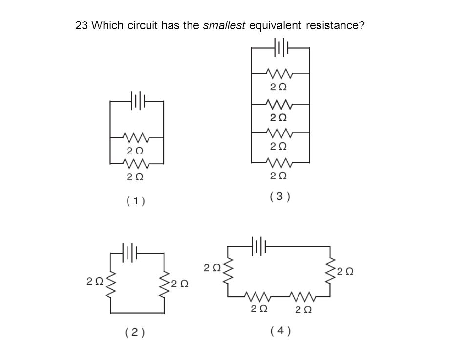 23 Which circuit has the smallest equivalent resistance?