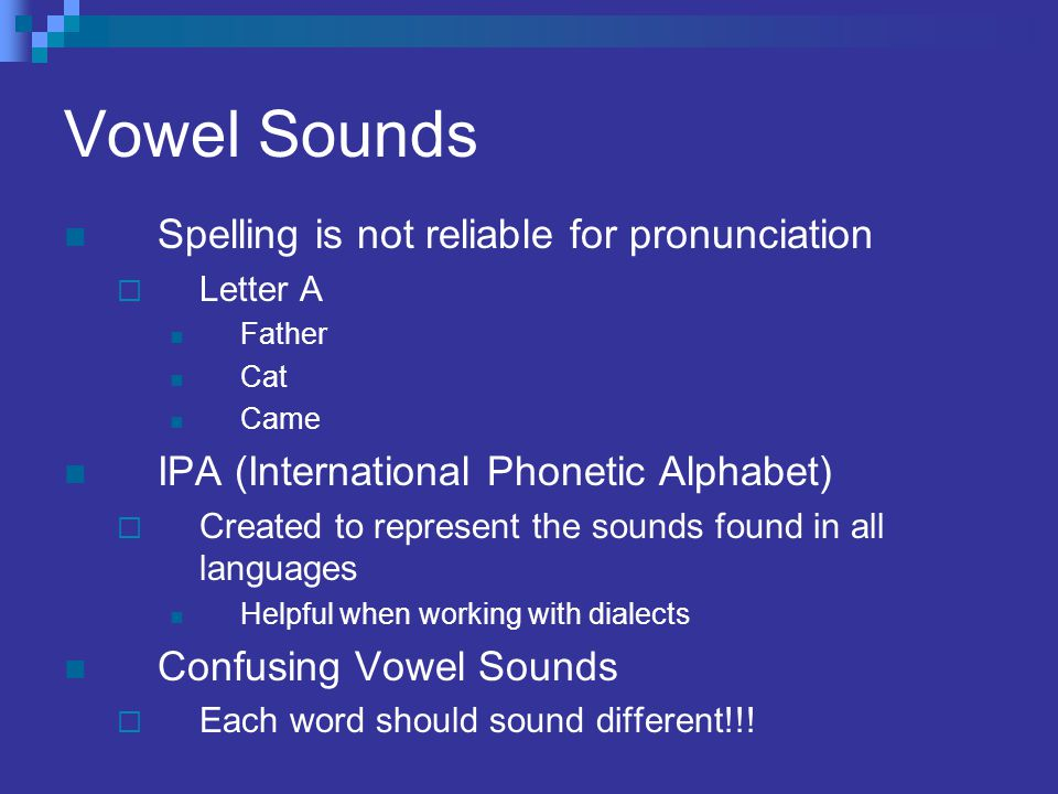 Vowel Sounds Spelling is not reliable for pronunciation  Letter A Father Cat Came IPA (International Phonetic Alphabet)  Created to represent the so